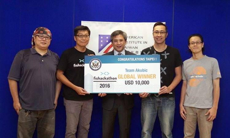 AIT Director Moy and the global Fishackathon winners from Taiwan - Team Akubic