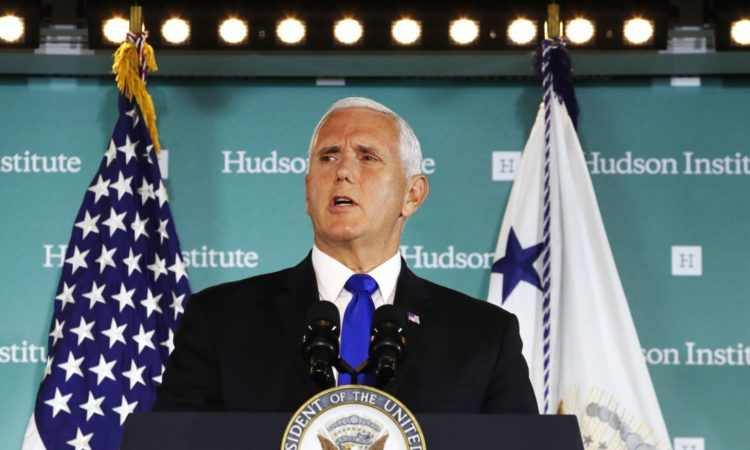 Vice President Mike Pence speaks, Oct. 4, 2018, at the Hudson Institute in Washington. (Image Credit: Voice of America)